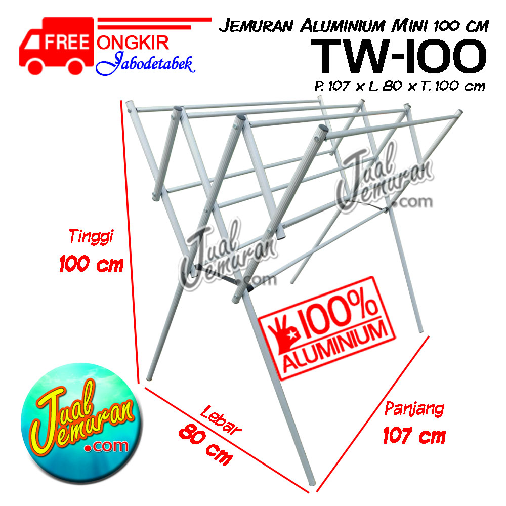 Jemuran Aluminium Mini TW-100_dim
